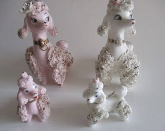 Set of Four Vintage Spaghetti Poodle Dog Figurines Made in Japan