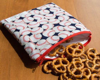 Baseball Bag, Snack Bags, Lunch Bag, Kids Lunch Bag, Reusable Snack Bag, Treat Bag, Back to School, Reusable Sandwich Bags, Waterproof Bag
