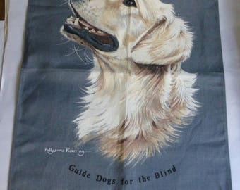 Irish Linen / Cotton Vintage Tea Towel with Golden Labrador by Pollyanna Pickering - Guide Dogs for the Blind