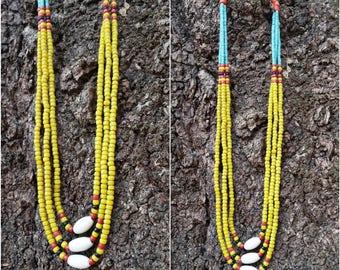 Seed beads yellow handmade naga necklace.