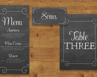 Chalkboard Grey Place Cards, Table Numbers, Menu Cards - DIY Wedding - Rustic Wedding - Table Name - Name Card - Wedding Stationery