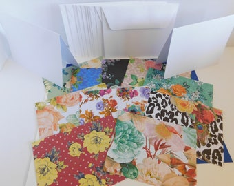 DIY Paper Die Cut Greeting Card Kit Set of 10 base cards and Fancy Floral Paper Card Making Paper Crafting Create your own Greeting Cards