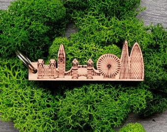London Skyline Keyring, London England Cityscape Keychain, London Personalised Keyring, London Eye Gift, London Souvenir, Big Ben London