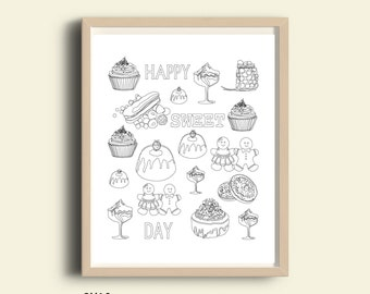 Coloring poster pages, bakery printable decoration, inspirational quote, printable coloring page, adults coloring page, sweet day, happy day