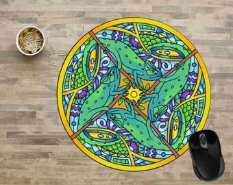 Mandala Mouse Pad, Chameleon Mandala Mouse Pad, Chameleon Mouse Pad, Computer Mouse Pads,  Mouse pad, Cute Mouse Pads, Mouse Pad