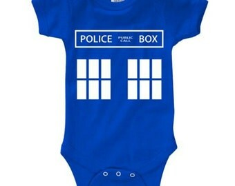 Dr who Tardis baby bodysuit vest. Any size