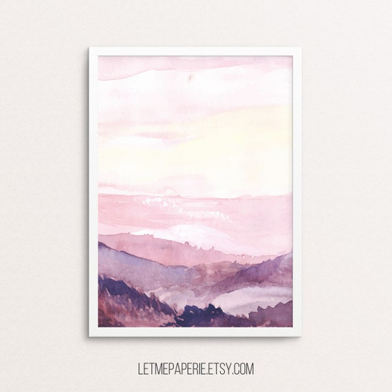 Watercolor mountains, watercolor print, forest print, mountain print, watercolor landscape, wall prints, printable art, sky, pink, purple