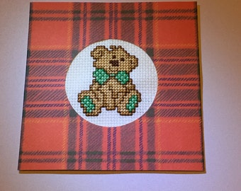 Bear Cross Stitched Card