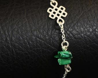 Natural malchite and eternity knot on sterling silver bracelet