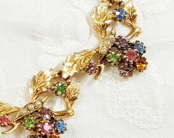 RAINBOW RHINESTONE NECKLACE Vintage Jewelry Gold Necklace w Pastel Rhinestones Easter Spring Mothers Day Gift Choker