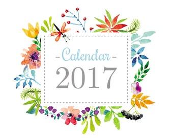 Printable 2017 Calendar, 2017 Planner, A4 Calendar, Watercolor Calendar, Instant download, Printable wall planner