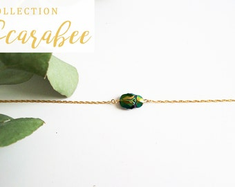 Bracelet 14 k gold plated beetle
