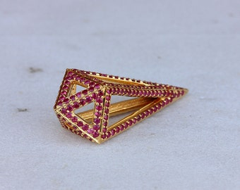 Handmade Geometric Pendant Solid 18k Yellow Gold Genuine Ruby Gemstone Pave Fine Jewelry