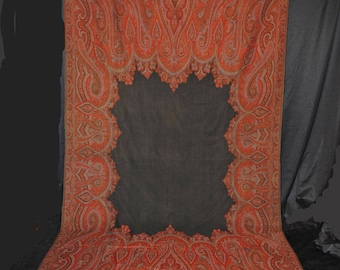 """Antique Paisley Shawl 1860's India Tight Weave Loomed Wool Black Center  127"""" x 63"""""""