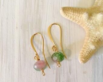 Watermelon tourmaline gold earrings, tourmaline earrings, dainty tourmaline earrings, minimalist earrings, dainty gold earrings