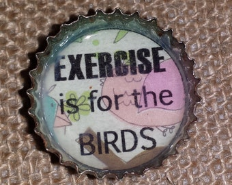 Fun Upcycled Bottlecap Magnets // Exercise is For the Birds // Free Shipping // Recycled Bottlecap