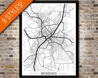 Every Road in Bendigo map art | High-res digital Victoria map print, Bendigo print, Bendigo poster, Bendigo art, Printable Bendigo gift