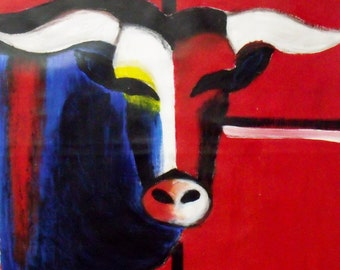 """Free shipping Orginal """"red bull"""" acrylic painting, 97x97cm in 38,19 x 38,19 inch red blue, world wide rolled shipping"""