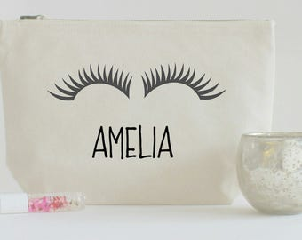 Personalised Make up bag, Eyelash Bag , Cotton Canvas Cosmetic Bag, Make Up Pouch,Birthday Gift, Storage Bag, Pouch, Silhouette eyelashes