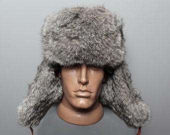 Russian modern winter hat ushanka Gray real rabbit fur