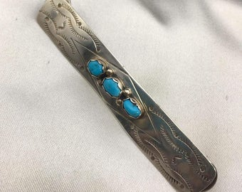 Vintage Sterling Silver Turquoise Native American Pin