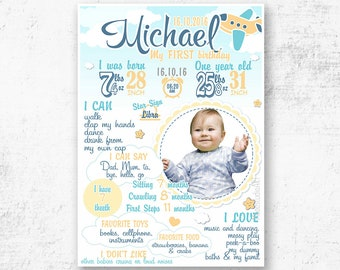 First Birthday Boy Sign  Poster - 1st Birthday Chalkboard - Personalized and Printable Birthday Poster