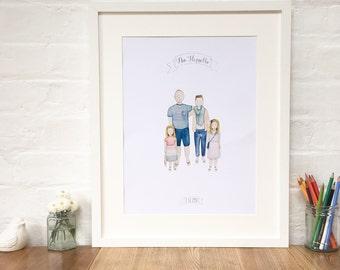 Personalised Family Portrait Illustration