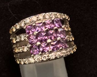 Sterling Silver Ring with Rows of Purple CZ's, Ladies Sterling Ring,