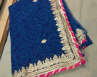 Blue georgette saree with gota patti work