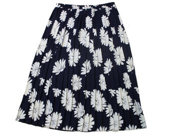 plus size skirt • vintage 90s pleated skirt • navy & white floral full midi skirt • summer, beach • Elisabeth Liz Claiborne • womens XL 2X