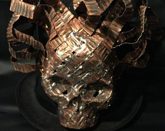 Medusa Steampunk Stove Pipe Top Hat, Cyber Punk, Goth, OOAK Copper Medusa Skull Detailing Made With Recylced Copper Strips