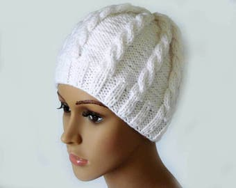 Knitted Cable Beanie, Womens Braided Knit Hats, Cable Knit Hat, Girls Knit Beanies, Winter White Hats, Cable Knit Hats