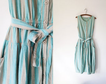 Vintage 80s Cotton Striped Dress, Turquoise Aqua Khaki Tan, Button Front Dress