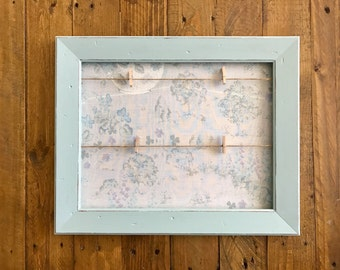 Picture or Note Display Frame | Revamped | Upcycled | Painted Blue | Vintage Fabric | Pegs