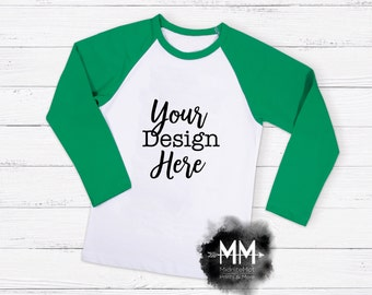 Raglan T-Shirt Mockup, Green Sleeve Shirt Display, Long Sleeve White T-Shirt, Apparel Display, St Patricks Day Shirt Mockup Instant Download