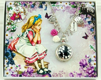 Alice in Wonderland Jewelry Alice in Wonderland Decoration Alice in Wonderland Necklace Vintage Pocket Watch Alice in Wonderland Christmas