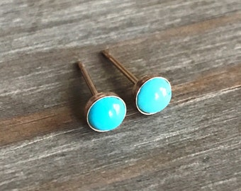 Tiny Turquoise Stud Earrings // 14k Gold Studs // 3mm 4mm 5mm 6mm // campitos mine turquoise