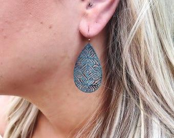 Turquoise Teardrop Filigree Earrings // Boho Earrings // Sun and Moonstone Jewlery