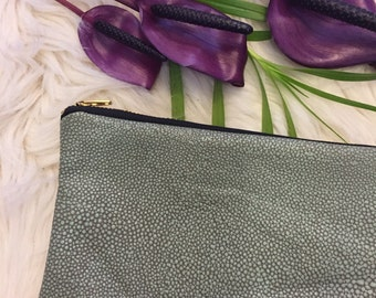 Sting ray embossed leather clutch