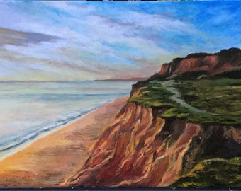 Praia de Falesia beach in Portugal. Oil on canvas painting