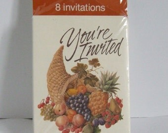New unopened unused Thanksgiving invitations from Carlton Cards eight 8 invites with envelopes supper party autumn meal horn of plenty