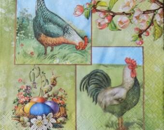 Easter paper napkins for decoupage,tissue paper napkins,Easter decorative napkins,Chicken napkins Easter