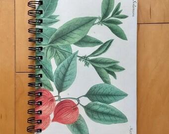 Spiral Notebook Journal, Flower Print, Reversible Graph Paper, Mixed Media Art Journal Handmade