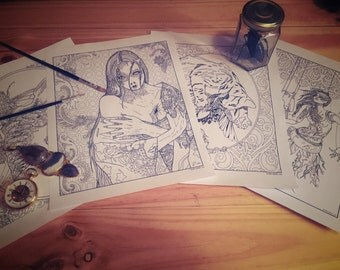Dark Fantasy Coloring Pages - Set of 4