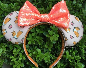 Corgi Peach Momo Mouse Ears in Pink