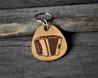 Accordion - genuine leather keychain