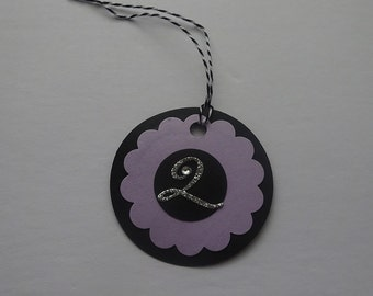 Handmade Personalized Circle Gift Tags - Black and Light Purple Circle Tag with Initial Letter - 2M