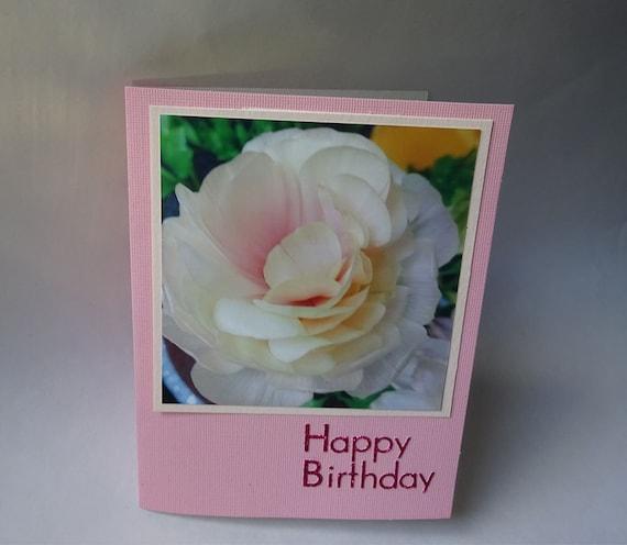 Birthday Card with Cream Ranunculus Flower - #1330