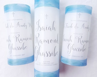 Baptism Candle, Christening Candle Personalised Baptism Candle Personalised Christening Candle No FOIL (watercolour)