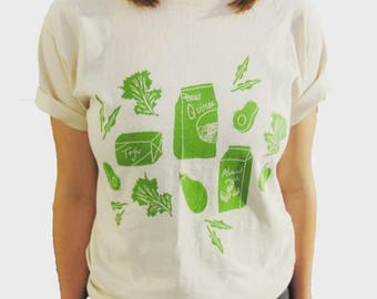 Illustrated Vegan Tee // Avocado, Quinoa, Tofu, Kale, Almond Milk